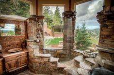 log home bathrooms | Master bath in log home | Husband Designed Future Home #LogHomeDecor