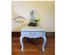 Vintage 1 Drawer Painted Side table painted in Rainy Day Lullaby (Light Gray with Blue Wash) - Matte Finish - French Provincial Table by HeatherhouseDesigns on Etsy Vintage Glam, Painted Side Tables, Blue Hues, Provincial Table, Table, Painted Table, French Provincial Table, Vintage Side Table, Grey Paint