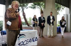 Beaufort Mayor Billy Keyserling, left, discusses the threats that offshore oil and gas development will have on South Carolina?s healthy ocean ecosystems, fisheries and tourism, while highlighting the benefits of offshore wind, including its ability to produce more jobs and energy while at the pavilion at Waterfront Park on January 14, 2015. ?So why would we put at risk the livelihood, the jobs, the quality of life that we all enjoy, particularly when their ...