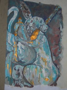 Painting of hare playing bagpipes.
