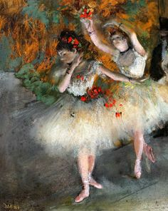 Edgar Degas. Two Dancers Entering the Stage (1877-1878). Edgar Degas, Degas Ballerina, Ballerina Room, Famous Art Paintings, Degas Paintings, Renoir, Ballerine Degas, Monet, Art History Memes