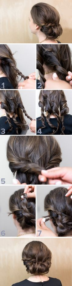 This rope braid updo style is actually super easy. With four braids, some twists and a tuck you can have a sophisticated and romantic look that is perfect for night out or even wedding or prom. It's a must try this summer!