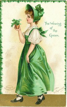 St. Patrick's Day antique postcard