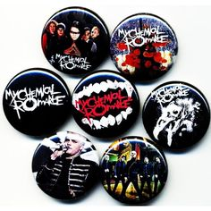 My Chemical Romance button badge pin set lot Emo Jewelry, Jewellery, Emo Scene, Button Badge, Emo Bands, Band Merch, Pin And Patches, My Chemical Romance, Pin Badges