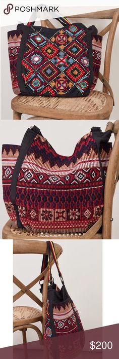 EMBROIDERED BAG Bohemian Ethnic Big Shoulder Tote One Size.  New in packaging.   • Beautiful, incredibly spacious and very versatile, this ethnic shoulder bag features intricate embroidery, mirror embellished detailing & 2 side pockets. • Snap style closure & two top handles.  • Fully lined; 2 slip pockets & 1 zip.  • Cotton, poly.  • Measurements provided in comment(s) section below.   {Southern Girl Fashion - Boutique Policy}   ✔️ Same-Business-Day Shipping (10am CT). ✔️ Price shown is…
