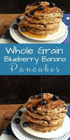 "Whole grain blueberry banana pancakes: If whole grain pancakes are new to your kids, start off with 3/4 cup all-purpose flour and 3/4 cup whole-wheat pastry flour. My kids didn't bat an eyelash when I made the switch, only, ""why are they so brown, mom?"" T Whole Grain Pancakes, Whole Grain Foods, No Flour Pancakes, Waffles, Light And Fluffy Pancakes, Greek Yogurt Pancakes, Healthy Breakfast Recipes, Breakfast Ideas, Healthy Food"
