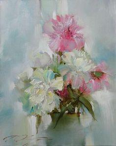 Денис Октябрь, современный российский художник романтик, на этот раз мастер цветочного натюрморта, все полотна которого наполнены удивительным сказочным светом.