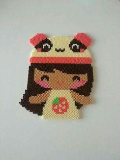 Kawaii girl hama perler beads by Deco Hama Beads - Merce Ruiz
