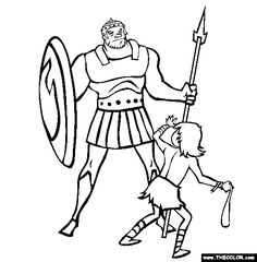 Free Bible Stories Coloring Pages. Color in this picture of David And Goliath and others with our library of online coloring pages. Lego Coloring Pages, Fish Coloring Page, Dragon Coloring Page, Alphabet Coloring Pages, Online Coloring Pages, Adult Coloring Pages, David Und Goliath, Bible Heroes, Models