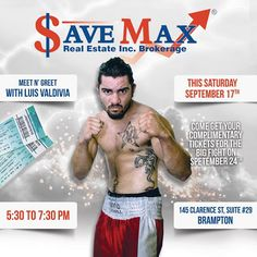"""Luis Valdivia will end more than three years of inactivity when he steps into the ring at the United Boxing Promotions professional card at the Mississauga Hershey Centre on Sept. 24. '' He is committed to being a World Champion"""" his coach says! Come and meet him before the Fight Night Tomorrow In Luis Valdivia Meet-n-Greet at Save Max Brampton Office! Save Max Real Estate - Google+"""
