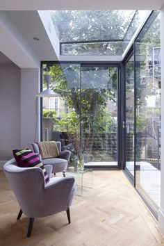Modern Glass Extension on a 5 Story London Townhouse in interior design architecture Category Inspiration for my dream sun room Townhouse Designs, House Design, Home, Conservatory Interior, Glass Extension, Modern House, Decor Interior Design, Glass Wall Design, London Townhouse