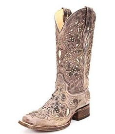 Not a fan of cowboy boots. Corral Bone Inlay Cowgirl Boots the design is a little busy, but I'd wear them Mode Country, Estilo Country, Country Boots, Western Wear, Western Boots, Cowboy Boots, Square Toe Cowgirl Boots, Girls Cowgirl Boots, Cowboy Girl