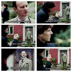 Mycroft showing he has feelings. Loved this scene. <------ also his brother is trying to drug him by getting him to drink more!! Brotherly love!
