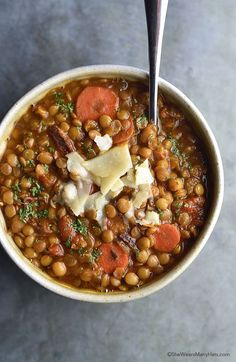 Bacon Lentil Soup Recipe | shewearsmanyhats.com