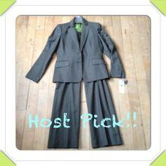 MEGA MARKDOWN!! Anne Klein Suit. Hard to describe the exact shade of color, but it's a darker gray. Lime colored interior. This suit has never been worn, tags still on it. Its been hanging in my closet. Pants have an inner lining and are very soft. Fantastic find! Inseam 32 inches. Anne Klein Jackets & Coats