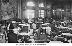First Class Drawing Room, SS Imperator. The ship's architect was the Ecole de Beaux-Arts trained Charles Mewes. His interiors are unmatched in traditional ship-building design.