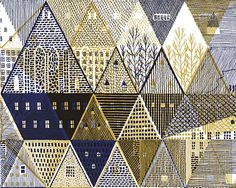lovely overlap of city scape with geometric shapes