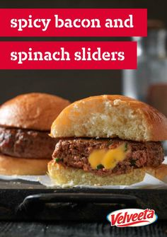 VELVEETA Spicy Bacon and Spinach Sliders – Delicious things come in small packages... especially when they involve bacon and VELVEETA cheese! Try out this easy recipe at your next grill-out.