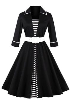 Classic and chic in our Atomic Black Vintage Striped Patchwork Swing Dress