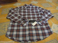Men's Tommy Hilfiger large L shirt long sleeve bunker blue 456 7819819 plaid NEW