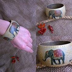 """Браслет """"Воды слонам!"""" Декупаж, кракелюр, акрил, объемный контур"""