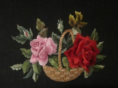 (473) Gallery.ru / Розы в корзине - Вышивка гладью - iriska1261