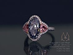 blue and pink diamond ring