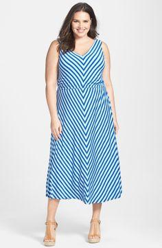 Calvin Klein Miter Stripe Maxi Dress (Plus Size) | Nordstrom