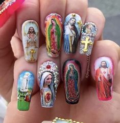 """Please leave your nail measurements in the """"note to seller"""" checkout box. NOTE: The decals may differ from each set but will still look. Bad Nails, Dope Nails, Crazy Nail Art, Crazy Nails, Simple Acrylic Nails, Best Acrylic Nails, Nail Swag, Mexican Nails, Crazy Nail Designs"""