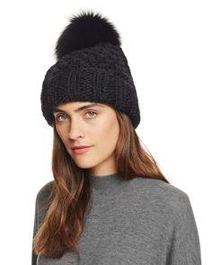 Kyi Kyi Popcorn Cuff Slouchy Hat with Fox Fur Pom-Pom Chicago Winter a3dc97db41b9