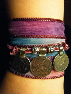 Love Spell Boho Silk Wrap Bracelet with Tribal Kuchi Coins, Gypsy, Bellydance, Yoga Bracelet, Purple, Pink, Teal Blue Hues w/Silver Accents