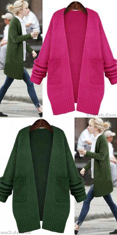 Fresh Green Loose Knitted Cardigan Sweater Coat for big sale! #knitted #cardigan #sweater #fresh #coat
