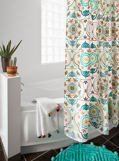 Moroccan palace mosaic shower curtain | Simons Maison | Shop Fabric Shower Curtains Online in Canada | Simons