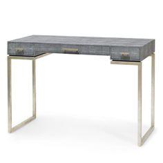 "AVALON SHAGREEN DESK from Palacek, charcoal finish, silver leg, retail 1950, 43"" x 20"" x 30""h"