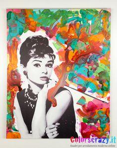 Quadro Audrey Hepburn dipinto su tela, acquista online su www.colorscrazy.it