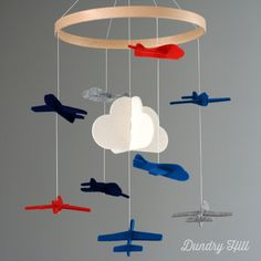 Baby Mobile Orange Blue and Gray Airplanes Nursery by dundryhill, $48.00