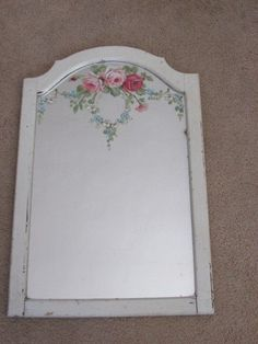 GORGEOUS ORIGINAL Christie REPASY PAINTING PINK ROSES on Old WALL MIRROR