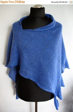 Cornflower Blue Shawl Cape Clothing Stripes Striped by Initasworks