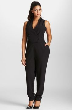 Hottttt!  Mynt 1792 Double Breasted Sleeveless Tuxedo Jumpsuit (Plus Size)