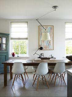 Farm table, Eames chairs