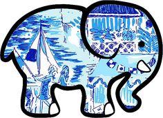 c6bb27fc6 Ivory Ella Elephant Sticker Lilly Pulitzer Inspired Print