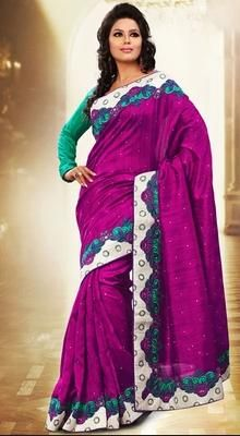 Exquisite Magenta Embroidered Saree