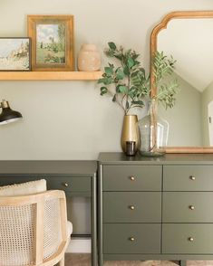 Olive green furniture /dresser/ desk