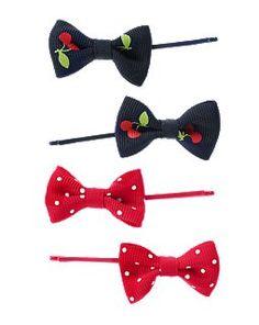 Cherry Mini Dot Bow Clip Four-Pack