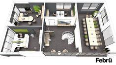 Grundriss Büro Etage mit unterschiedlichen Bereichen: Chefbüro, Teambüro, Konferenzraum und Loungebereich.