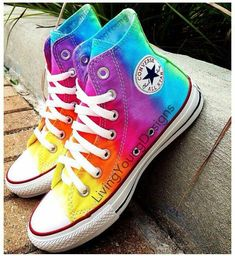 TieDye Painted Shoes Custom Converse Sneakers Anime/Fandom Custom Shoes, Best Gift for Men Women · FanArtShoes · Online Store Powered by Storenvy Tie Dye Converse, Rainbow Converse, Hi Top Converse, Converse Sneakers, Rainbow Shoes, Rainbow Sneakers, Colored Converse, Cool Converse High Tops, Orange Converse