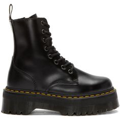 Dr. Martens Black Eight-Eye Jadon Boots ($180) ❤ liked on Polyvore featuring shoes, boots, ankle booties, dr. martens, black, black boots, round toe boots, black zipper booties, zip boots and black platform booties