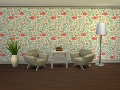 Flamingo wallpaper at Beauty Sims via Sims 4 Updates
