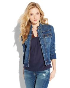 Denim moto jacket 100 % COTTON