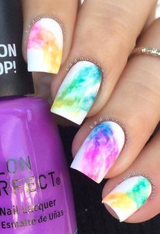 Rainbow Nail Art Ideas If you& trying the rainbow nail art design but you want it in a subtle way, you can definitely choose this smokey design. Guess smokey is not just for the eyes, ehh? Cute Acrylic Nails, Cute Nail Art, Beautiful Nail Art, Gorgeous Nails, Pretty Nails, Love Nails, Kid Nails, Color Nails, Amazing Nails